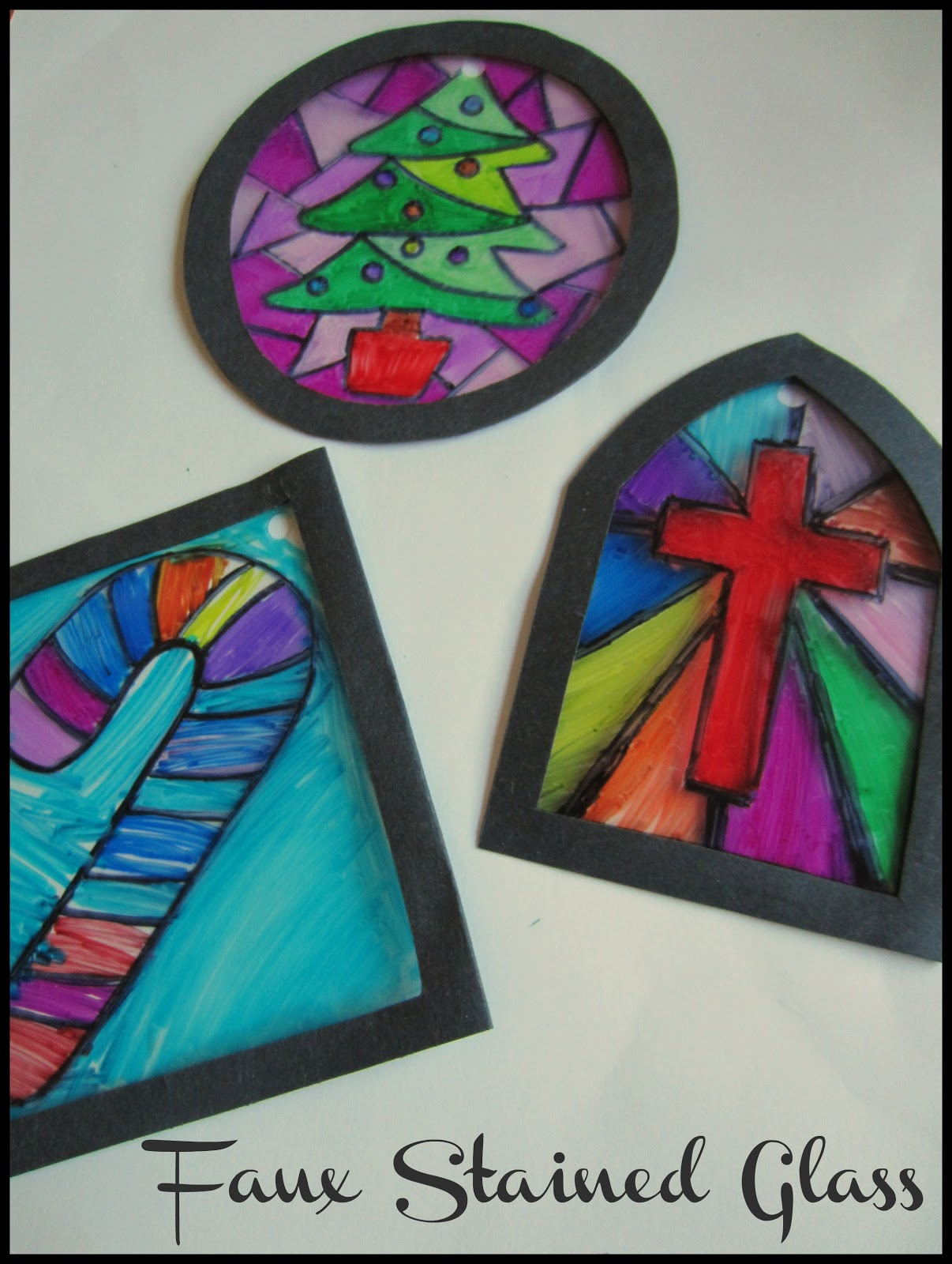 Christmas Stained Glass Ornaments Part - 44: Faux Stained Glass Ornaments