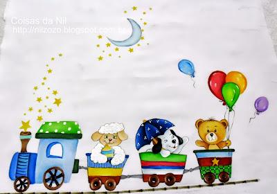 pintura de trenzinho com carneiro, cachorrinho e urso