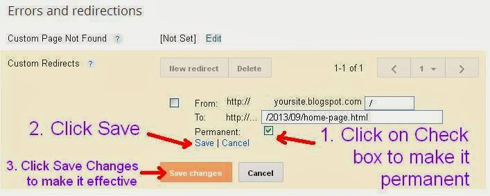 Blogger: How to setup a static home page step 7
