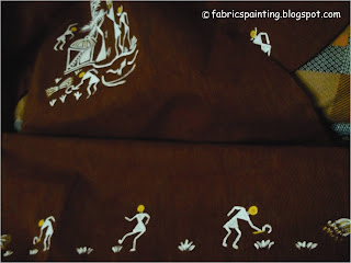 warli painting with some people working on their farm