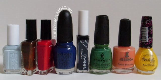 Essie, American Apparel, Sephora by OPI, Born Pretty Store Sweet Color, China Glaze, Jessica, Nicole by OPI