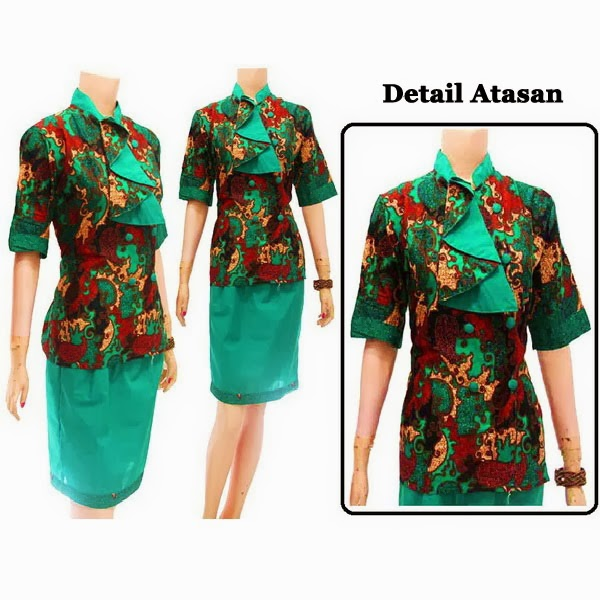 DB3713 Mode Baju Dress Batik Modern Terbaru 2014