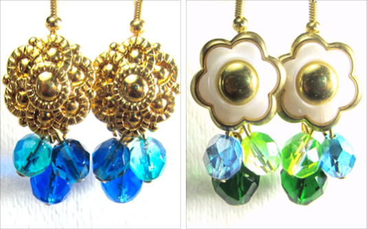 Dangle earrings have gold flower buttons with green and blue fire polished czech beads
