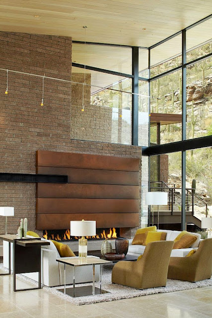 transitional loft design open concept modern living room two story windows