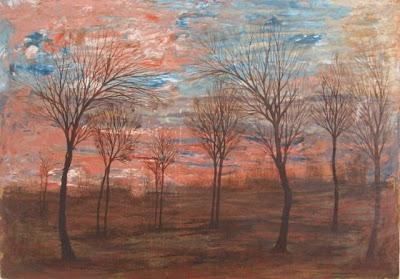 Egon Schiele Paesaggio boemo tramonto autunnale