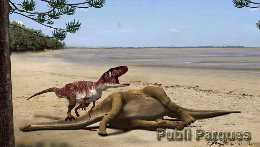 Infografía de un dinosaurio carnívoro megalosáurido alimentándose del saurópodo Turiasaurus riodevensis