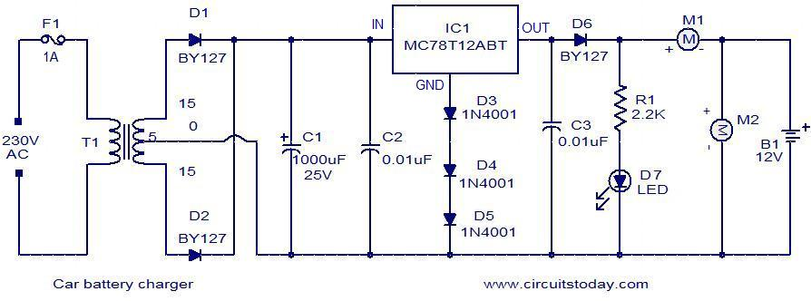 Car Battery Charger Circuit Diagram on c er battery wiring diagram