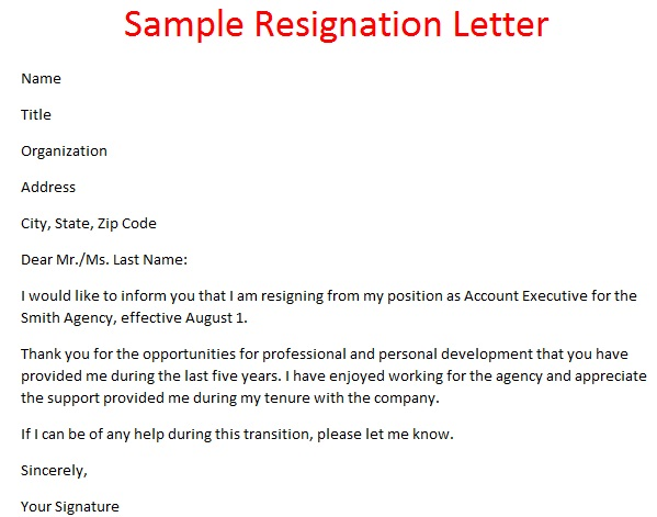 Sample Two-Week Resignation Letters