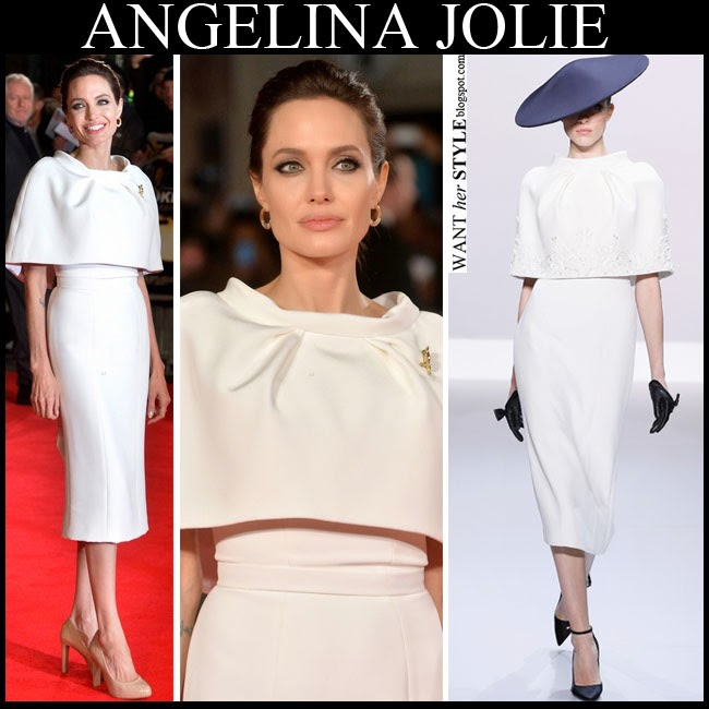 Angelina Jolie in white pencil dress with white bolero cape by Ralph & Russo Unbroken premiere november 25 want her style