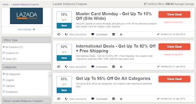 Pilihan voucher dan coupon Lazada Malaysia