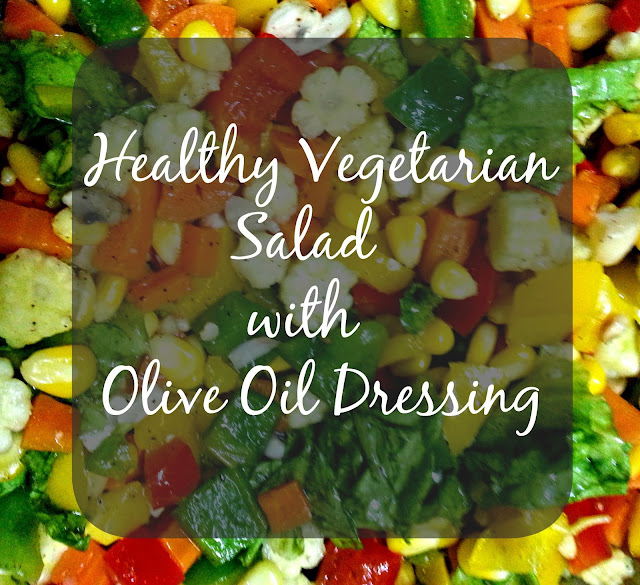 healthy vegetarian salad with olive oil dressing via theitgirl