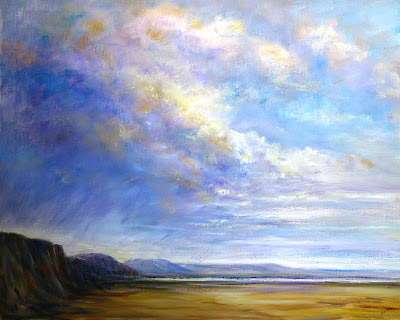 oil painting of watergate Bay and surrounding beach
