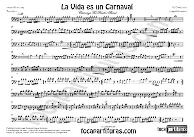 La Vida es un Carnaval Partitura de Trombón 1º en Clave de Fa de Celia Cruz Sheet Music for Trombón 1º