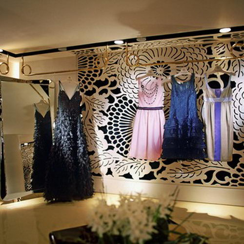 Vakko Couture the Elegant Boutique Design with Floral Wall Design, Boutique Design, Fashion Store Design, Interior Design, Unique Fashion Store Design, Floral Interior Design, Architecture Design