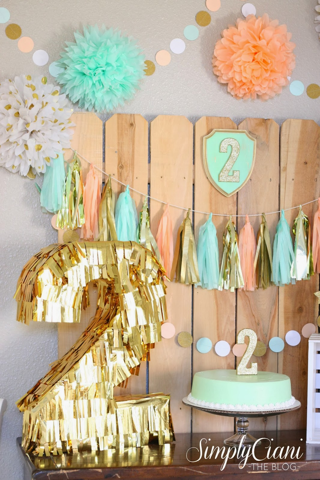 Peach mint gold farm fresh birthday party simply ciani for Gold party