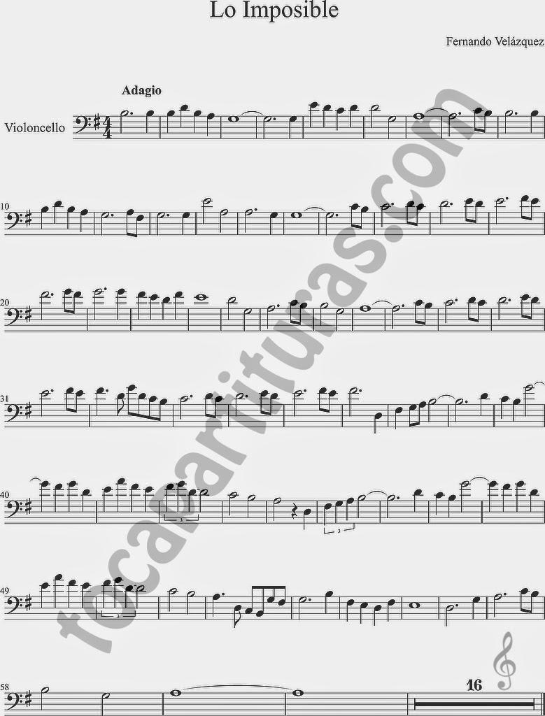 1 Lo Imposible Partitura de Violonchelo (melodía) y partitura de acompañamiento chelos Sheet Music for cellos