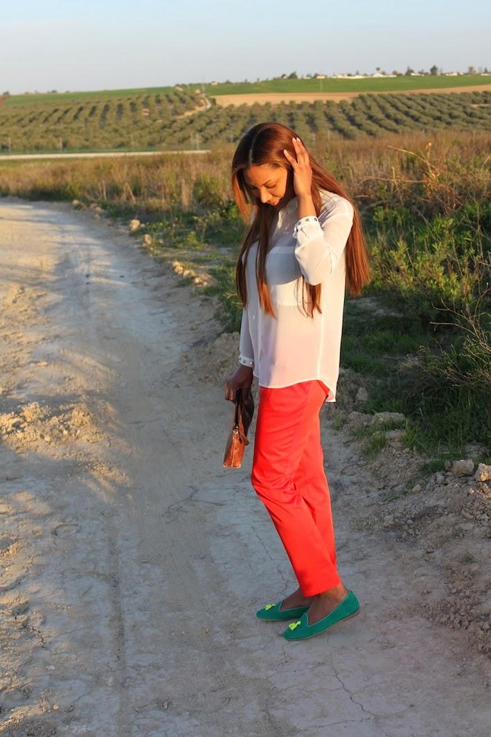 Blusa de zara, pantalon H&M, zapatos chatelles, bolso vintage