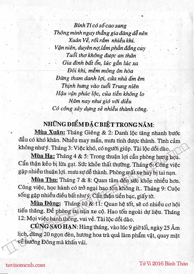 Tu vi Binh Ty 2016 nu mang
