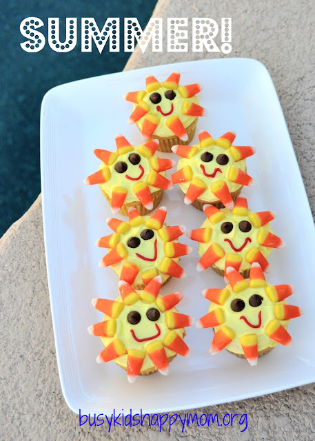 Summer Sunshine Cupcakes.  Easy to make, fun to eat.  From Busy Kids Happy Mom
