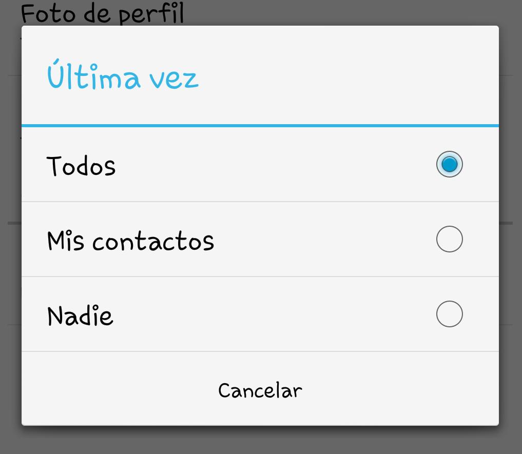 ajustes whatsapp ocultar ultima conexion