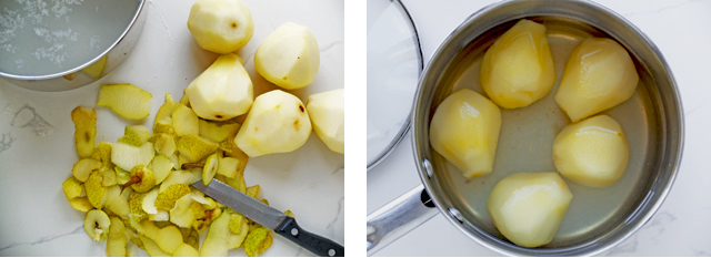 Two images of poached pears before and after in a saucepan.