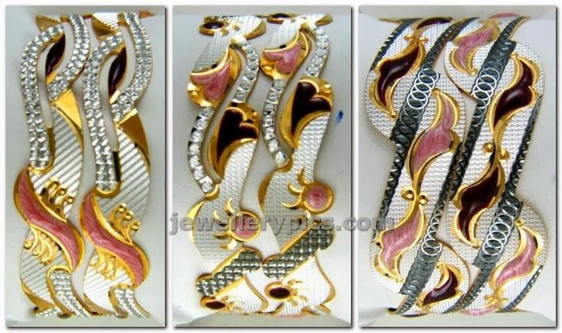 shree mangal jewels rhodium polished gold bangles