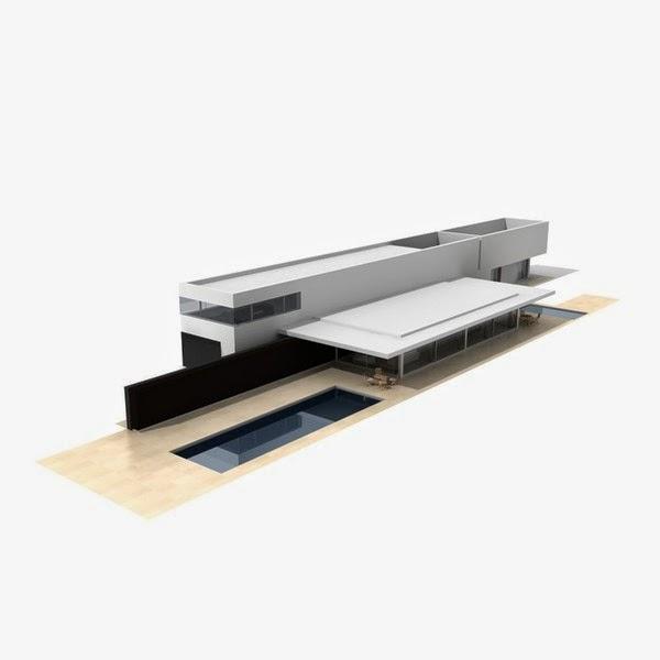 موديلات 3d لتصاميم معمارية حديثة للمنازل