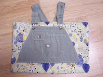 Handmade Green Jean Denim Market Tote Handbag Purse
