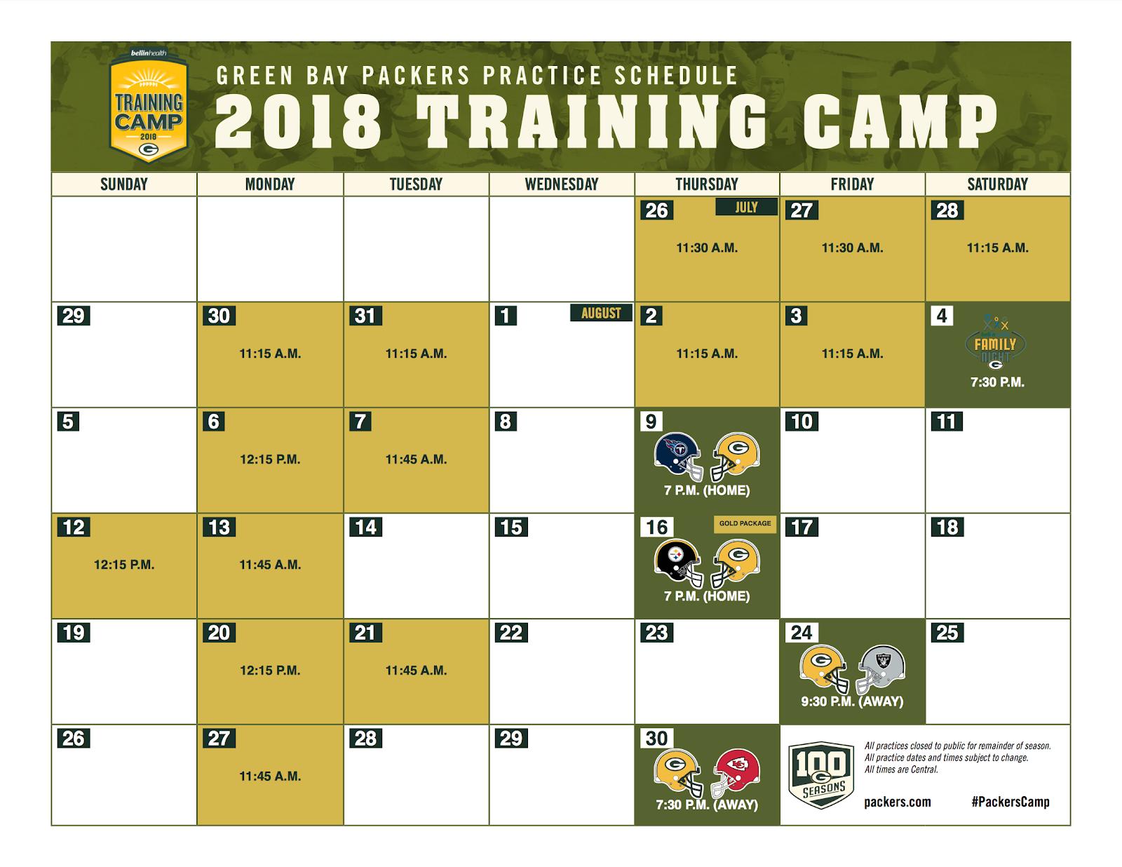 2018 training camp schedule