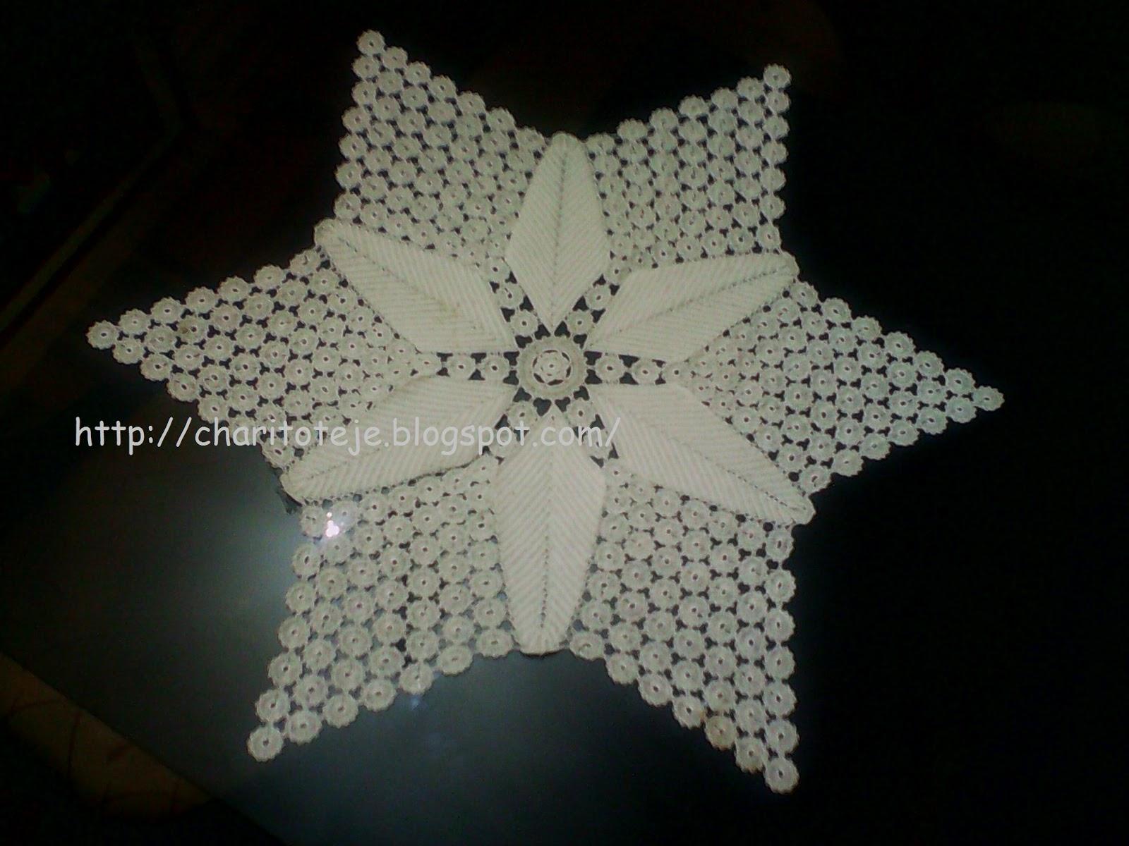 Charito teje mantel porta jarra y centro de mesa a crochet for Centro de mesa a crochet