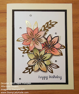 Tropical Flower Card made with Blissful Bouquet Stamp set from Stampin'UP!'s 2015 October Paper Pumpkin Kit