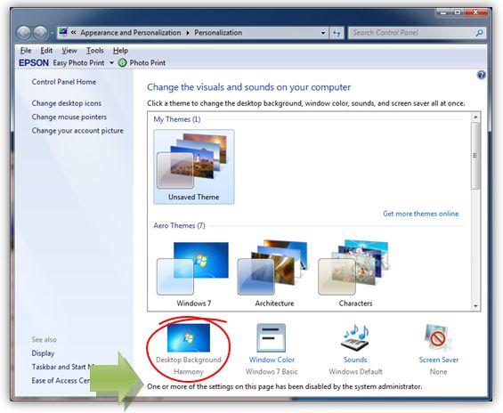 Gambar: Properti desktop background tidak bisa diakses