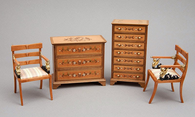 Marquetry Commode And Three Drawer Chest. Regency Chairs From The White  House.
