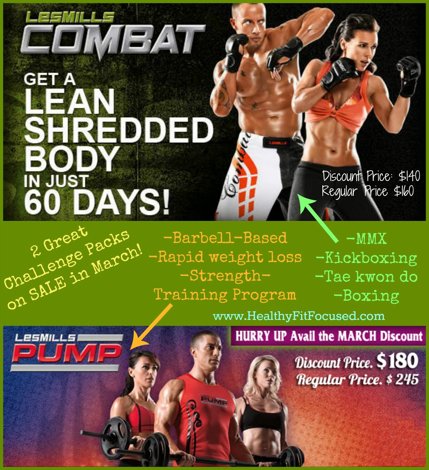 Les Mills Combat and Les Mills Pump on Sale, www.HealthyFitFocused.com