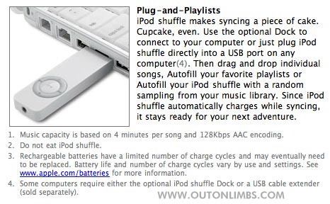 Funny Warning Label iPod Shuffle Eat