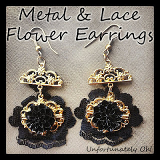 DIY metal and lace earrings