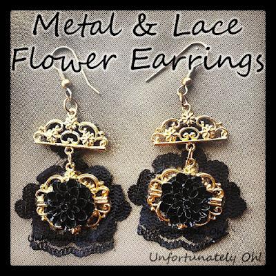 DIY metal and lace earrings