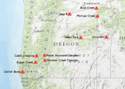 Oregon Smoke Information 08072015 Status of Fires and Smoke