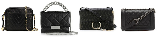 One of these quilted chain strap crossbody bags is from Forever 21 for $23 and the other three are from designers for thousands - yes, thousands! Can you guess which one is the more affordable bag? Click the links below to see if you are correct!