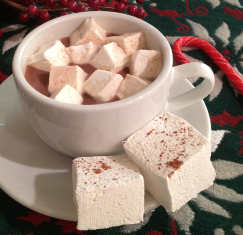 Home made marshmallows in hot cocoa