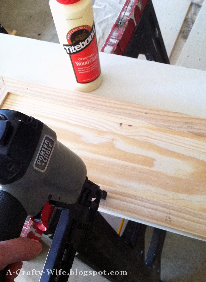 Wood glue and nail gun to secure lattice strips for Ikea Rast hack | A Crafty Wife