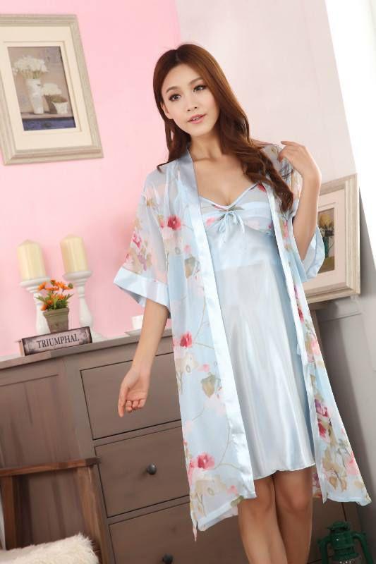 gambar Baju Tidur Kimono SL1144 Flower Green