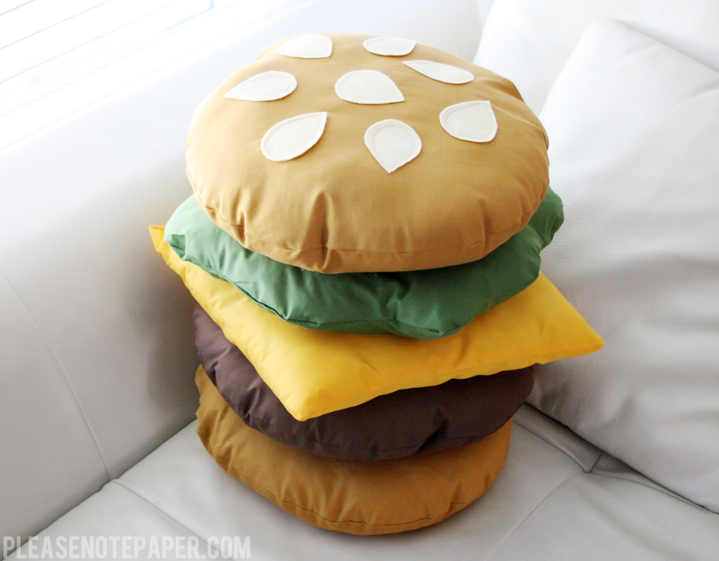Cute Food Pillows Diy : Please Note: DIY: Stackable Burger Pillow