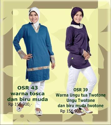 Model Baju Kaos Muslim Osmoes Tosca Biru Muda dan Ungu Tua Twotone Biru Muda