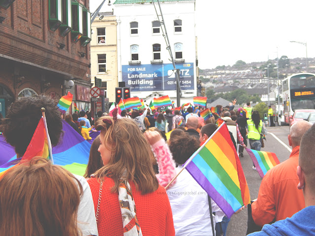 People marching In the cork pride parade