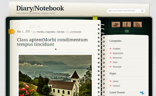 Diary Notebook Personal WordPress Theme