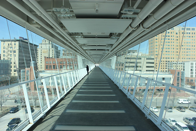 Photograph taken by Robin Peters in a glass walkway which crosses to a casino in Davenport, Iowa near the Figge Museum.