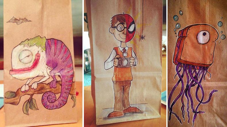 Cada día durante los últimos 2 años, este padre dibujo sobre la bolsas del almuerzo de su hijo de primer grado