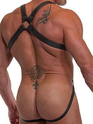 665 Leather Neoprene Jock Harness Back Gayrado