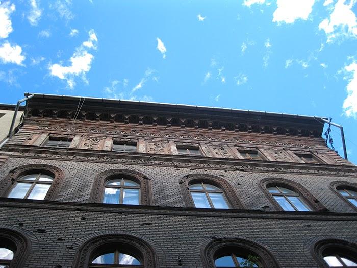 Budapest building detail sun blue sky